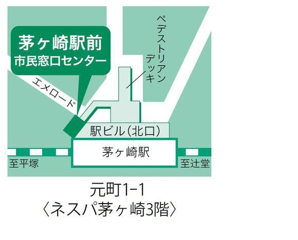 Chigasaki stationiert quadratische Bürgerfenster Zentrumslandkarte